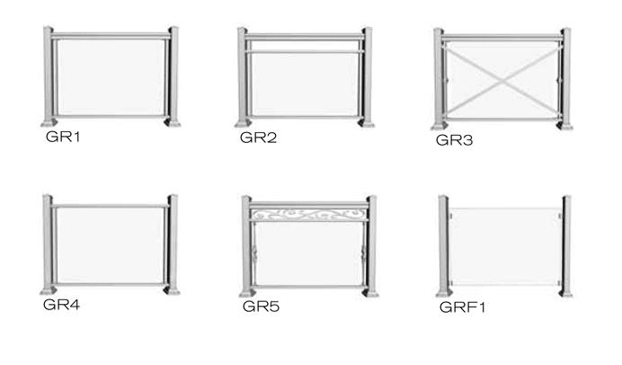 selection of glass railing styles