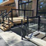 patio railing with aluminum and glass on a rear deck and walk out in toronto