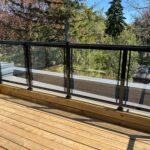 glass railing on a new deck in toronto