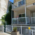 white aluminum railing on a townhouse complex downtown toronto