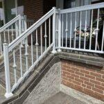 aluminum railing in white on a front porch in toronto