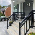 aluminum stair railing on a front porch in toronto