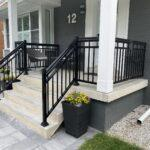 black aluminum railings on a front porch in toronto
