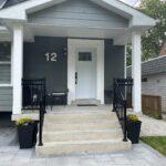 black aluminum railing on front porch in toronto