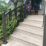 aluminum railing on a curved stairs in Toronto