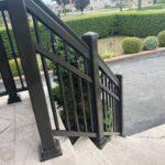 aluminum porch railing in toronto on a curved stairs