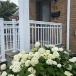 aluminum railing and columns in white on a front porch in Toronto