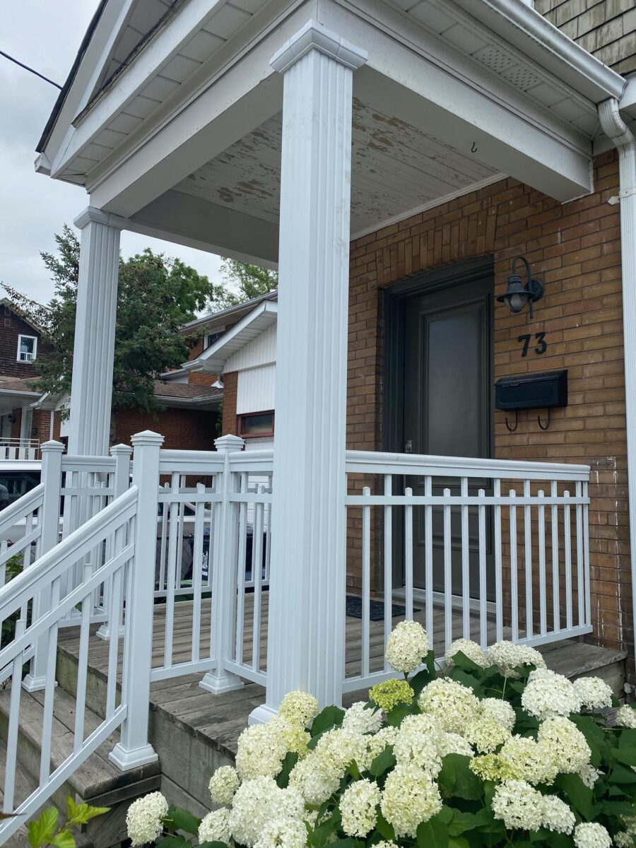 aluminum columns with Aluminum railing on a front porch in toronto