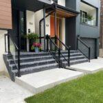 aluminum railings with glass on a front porch in toronto