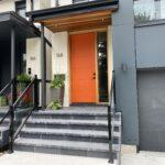 aluminum railing with glass on a front porch in toronto