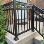 aluminum railing with a scroll design on a front porch in toronto