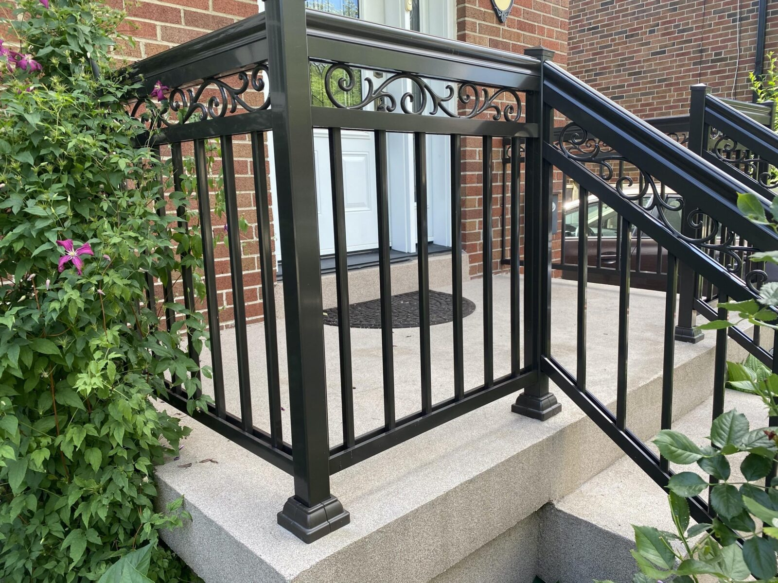 aluminium railing on a front porch in toronto