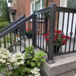 aluminum railing in brown on a front porch in toronto