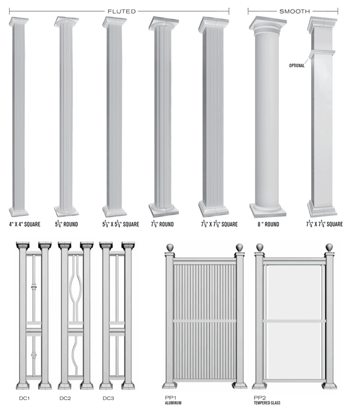 selection of aluminum columns and dividers